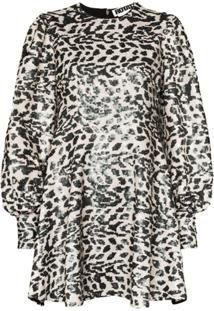 Rotate Vestido Mini Alison Com Animal Estampa Com Paetês - Cinza