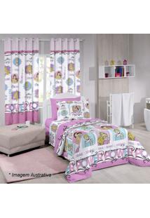 Edredom Princessâ® Power Solteiro- Rosa & Branco- 150Santista