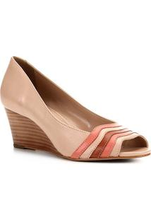 Peep Toe Couro Shoestock Anabela Bicolor - Feminino-Nude