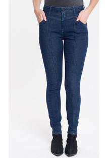 Calça Jeans Feminina Five Pockets Skinny Cintura Alta Azul Marinho Calvin Klein - 34
