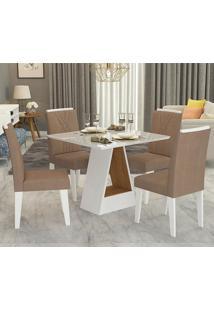 Conjunto De Mesa Alana 95X95Cm Com 4 Cadeiras Nicole - Cimol - Branco / Savana / Pluma