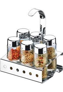Porta Condimentos / Tempero 7 Peças De Vidro Com Suporte De Aço Inox, Capacidade De 90Ml Cada, Parma - Brinox
