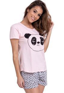 Pijama Short Doll Manga Curta Panda Feminino Com Algodão Luna Cuore