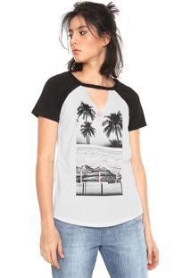 Camiseta Hurley Choker Raglan Branca/Preto