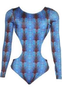 Body Banana Rosa Manga Longa Folhagem Feminino - Feminino-Azul