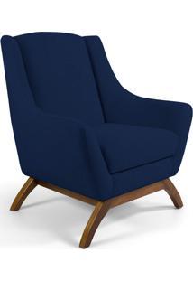 Poltrona Decorativa Sala De Estar Base De Madeira Naomi Veludo Azul Oxford - Gran Belo