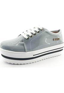 ... Tênis Flatform Quality Shoes Verniz Sola Alta Com Detalhe Feminino -  Feminino-Cinza 9777345f7a9