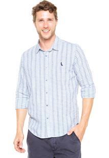 Camisa Reserva Textura Horizontal Branca/Azul