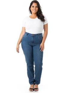 Calça Jeans Cigarrete Com Lycra Plus Size Confidencial Extra Feminina - Feminino-Azul
