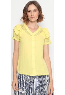 Blusa Com Renda- Amarela- Milagremilagre