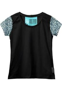 Camiseta Baby Look Feminina Algodão Estampa Folha Estilo - Feminino-Preto