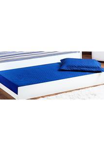 Cobre Leito Prático Solteiro Azul Royal Matelado Com 2 Peças - Kanui