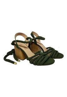Sandalia De Salto E Tecido Verde Preffere
