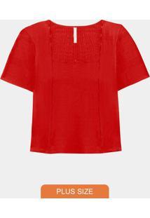 Blusa Plus Size Canelada Vermelho