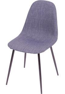 Cadeira Robin Linho Jeans Azul Com Base Preta - 43086 - Sun House