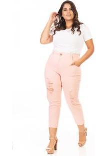Calça Jeans Capri Destryed Cintura Alta Plus Size Confidencial Extra Feminina - Feminino-Rosa