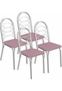 Kit 4 Cadeiras Holanda Cromada Kappesberg 4C009 Salmão