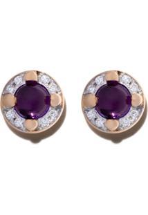 Pomellato Para De Brincos De Ouro Rosé 18K Com Ametista E Diamante - Violet