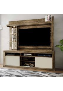 Estante Home Theater Para Tv Até 50 Polegadas 2 Portas Com Espelho, Vidro E Led Flex Color Maracá Canela Rústico/Dunas/Canela Rústico - Colibri