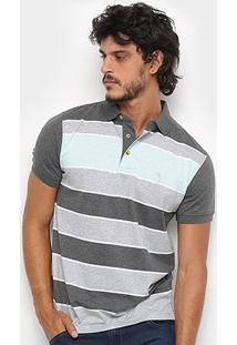 Camisa Polo Aleatory Fio Tinto Listrada Masculina - Masculino-Verde+Cinza
