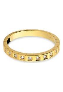 Meia Aliança Ouro Amarelo Com 12,1 Pontos De Diamantes