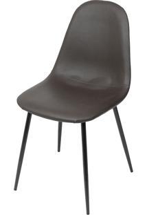 Cadeira Charla Em Pu E Base Preta – Sopron – Café