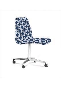 Cadeira Eames Base Cromada Com Rodizio Daf Azul/Branco