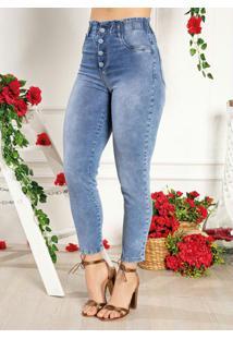 Calça Jeans Jogger Com Botões Funcionais Sawary