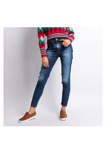 Calça Skinny Jeans Feminina Lavagem Escura Jeans