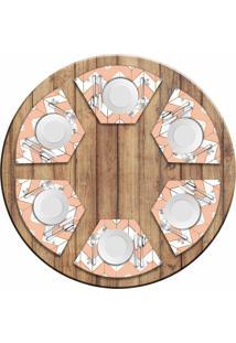 Jogo Americano Love Decor Para Mesa Redonda Wevans Marble Geometric Kit Com 6 Pçs - Kanui