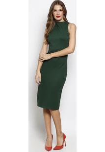 Vestido Liso Com Fenda & ZãPer - Verde - Forumforum