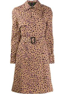 Ps Paul Smith Trench Coat Com Animal Print - Marrom