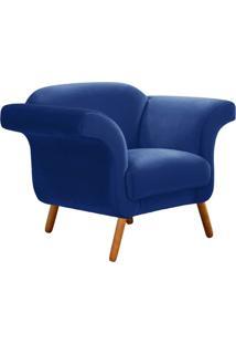 Poltrona Decorativa Com Pés Palitos Modernos Tróia Suede Azul Bic - Ibiza