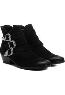 Bota Couro Cano Curto Shoestock Fivelas - Feminino-Preto
