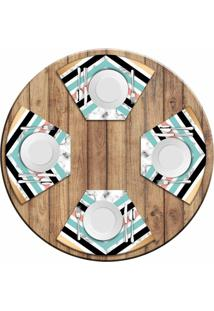 Jogo Americano Love Decor Para Mesa Redonda Wevans Geométrico Marble Kit Com 4 Pçs - Kanui