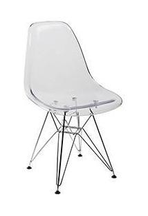 Cadeira Side Base Cromada Cristal Transparente - By Haus