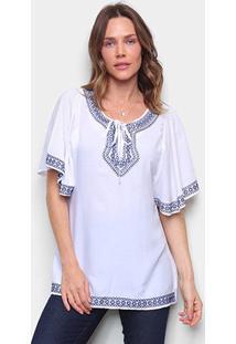 Bata Top Moda Bordada Feminina - Feminino-Branco