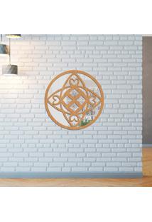 Escultura De Parede Wevans Mandala Vibes, Madeira + Espelho Decorativo -