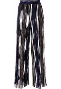 Missoni Calça Cintura Alta De Seda Com Listras - Azul