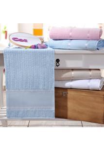 Toalha Rosto Ponto Russo Azul - Kit Com 4 Unidades