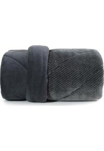 Edredom Solteiro Altenburg Blend Fashion Plush Alfaiataria- Preto