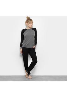 Pijama Lupo Loungewear Feminino - Feminino-Preto+Cinza