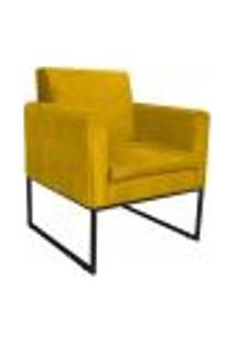 Poltrona Bella Base De Ferro Preta Suede Amarelo - Amarena Móveis
