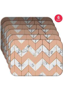 Jogo Americano Love Decor Wevans Marble Geometric Kit Com 6 Pçs