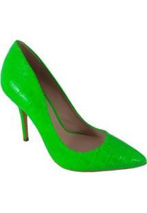 Scarpin Salto Alto Sapatoweb Couro - Feminino-Verde