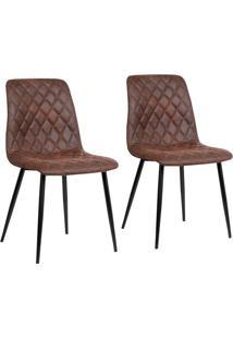 Conjunto Com 2 Cadeiras De Jantar Tervo Pernas Em Metal Marrom