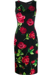 Dolce & Gabbana Vestido Midi Com Estampa De Rosa - Preto