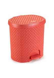Lixeira Para Cozinha De Plástico 6 Litros Com Pedal Coral