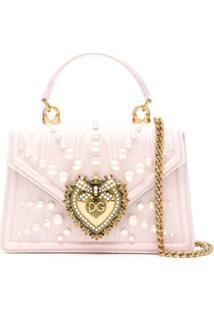 Dolce & Gabbana Bolsa Devotion Pequena Com Pérolas - Rosa