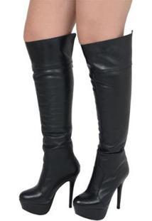 Bota Plataforma Over The Knee - Feminino-Preto